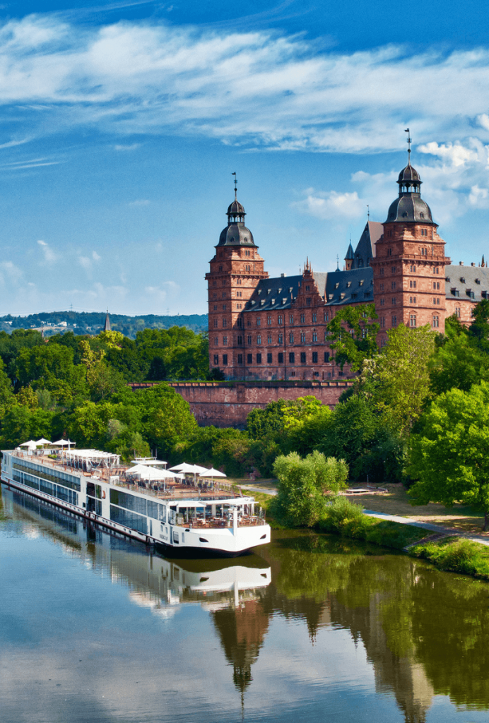 viking river cruise ship on water in Europe
